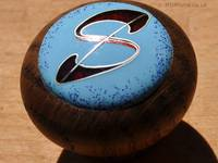 Blue and Red Letter S Cloisonné Enamel Doorknob by Mark Morris