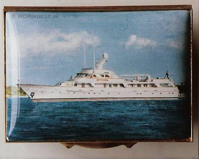 Large Luxury Yacht - Enamel Miniature Painting by Mark D Morris