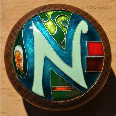 Second Letter-N Cloisonné Enamel Design by Mark Morris