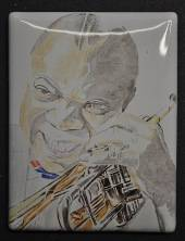 Miniature painting of Louis Armstrong (stage 1)