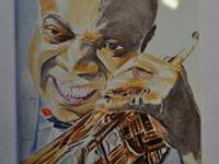 Miniature painting of Louis Armstrong (stage 2)