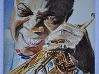 Miniature painting of Louis Armstrong (stage 3)