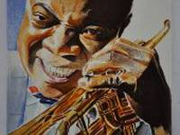 Miniature painting of Louis Armstrong (stage 4)