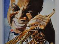 Miniature painting of Louis Armstrong (stage 5)