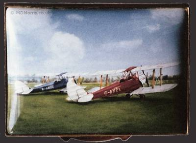 Tiger Moths Biplanes - Miniature Enamel Painting by Mark D Morris