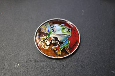 Amazon frog after the fifth firing of enamel