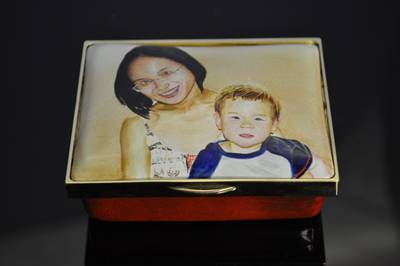 Mother and Son Family Portrait Miniature Enamel Box by MDMorris
