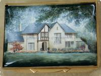 An Enamel Miniature Painting of a Cream-Coloured House by Anthony Phillips