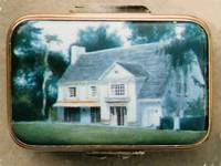 A Miniature Enamel Painting of a House with a Large Slate Roof by Anthony Phillips