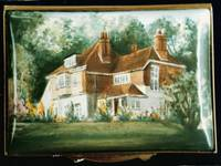 A Miniature Enamel Painting of a House with a Terracotta Roof by Anthony Phillips