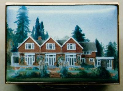 A Miniature Enamel Painting of a House with Three Roof Triangles by Anthony Phillips