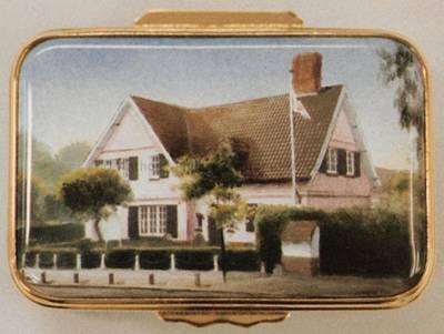 An Enamel Miniature Painting of a House with Flagpole by Anthony Phillips