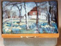 A Miniature Enamel Painting of a House and Woods by Anthony Phillips