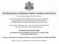 Invitation to the Royal Society of Miniature Painters, Sculptors and Gravers Exhibition 2013