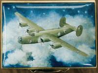 A Miniature Painting in Enamel of a Lancaster Bomber by Anthony Phillips