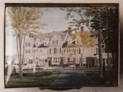 An Enamel Miniature Painting by Anthony Phillips of a Large House