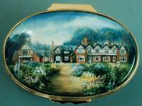 A Miniature Enamel Painting by Anthony Phillips of a Large Old House