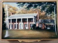 An Enamel Miniature Painting of a House with a Large Veranda by Anthony Phillips