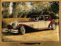 An Enamel Miniature Painting of a Classic Car by Anthony Phillips