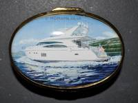 Luxury Speed Boat - Enamel Miniature Painting by Mark D Morris