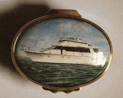 Luxury Yacht - Enamel Miniature Painting by Mark D Morris