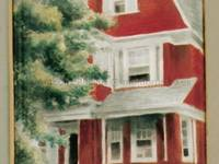 A Miniatue Enamel Painting of a Red House by Anthony Phillips