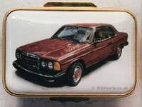Red Mercedes - Enamel Miniature Painting by Mark D Morris