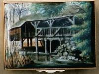 A Miniature Enamel Painting of a Riverside House by Anthony Phillips