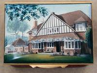 A Miniature Enamel Painting of House with Large Triagular Front by Anthony Phillips
