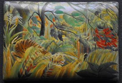 Tropical Storm with a Tiger (Surprised!) - Enamel reproduction by Anthony Phillips & Mark D Morris