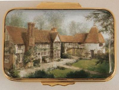 An Enamel Miniature Painting of an Old Property by Anthony Phillips