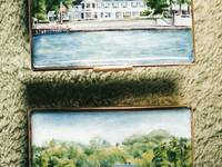 Waterfront Pair of Enamels - Commissioned Miniature Painting Enamel Box