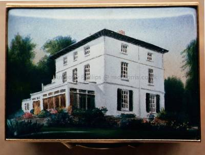 A Miniature Enamel Painting of a Large White House by Anthony Phillips