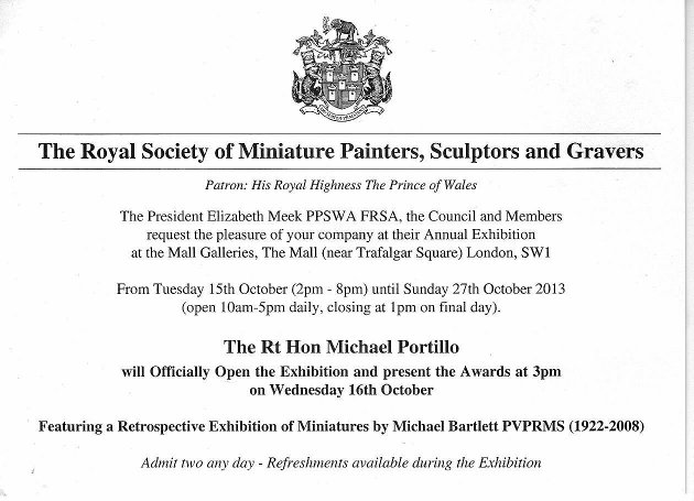 Invitation to the Royal Society of Miniature Painters, Sculptors and Gravers